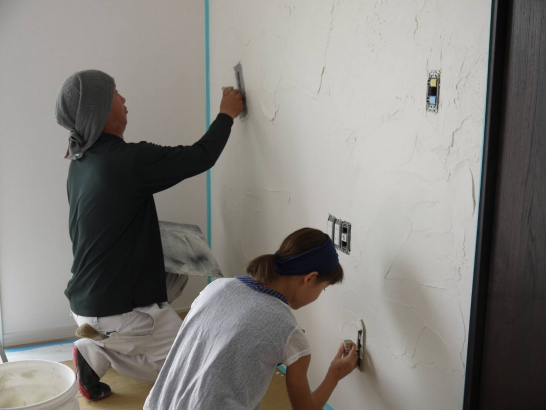 漆喰塗り体験は思い出造りに