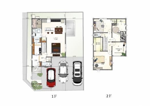 【間取図】 3150万円、3LDK、土地面積169.49m2、建物面積109.3m2  1階にも充実の収納スペース。家事動線を重視した間取りです。