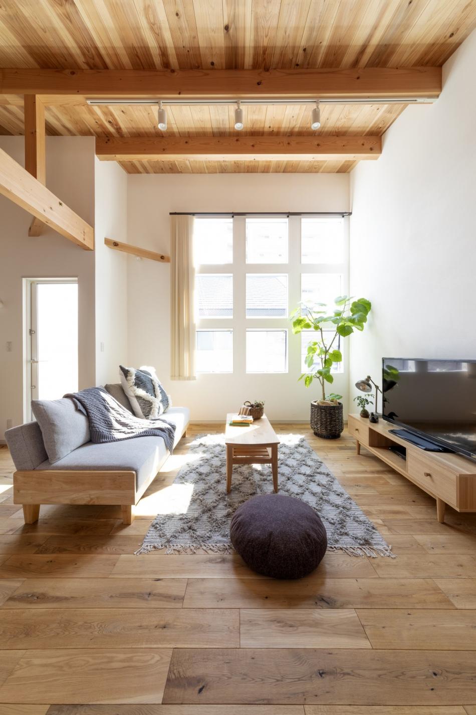 9面の窓が明るい光を室内に取り入れます