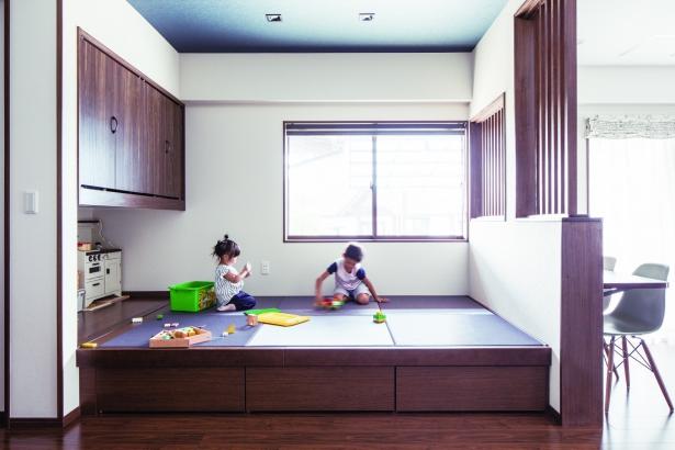 小上がりの和室にリノベーション。子どもたちの格好の遊び場。豊北木材の建築実例